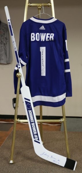 Johnny Bower Signed Stick and Jersey